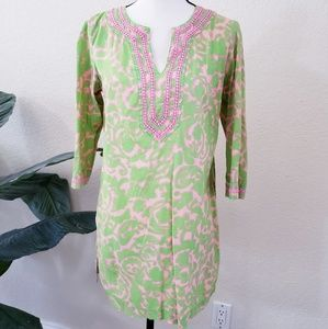 Boden Swim Beach Coverup Tunic Top Pink Green